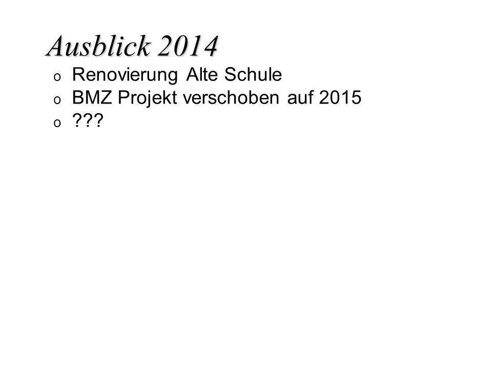 Ausblick 2014 Renovierung Alte Schule BMZ Projekt verschoben auf 2015