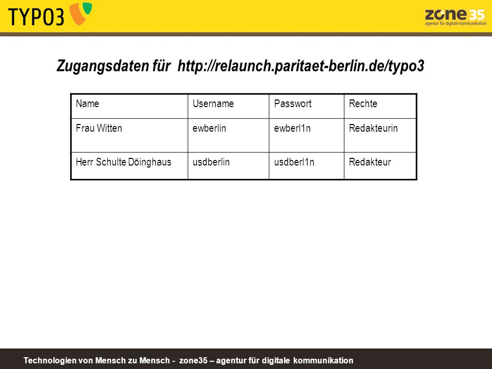 Zugangsdaten für http://relaunch.paritaet-berlin.de/typo3