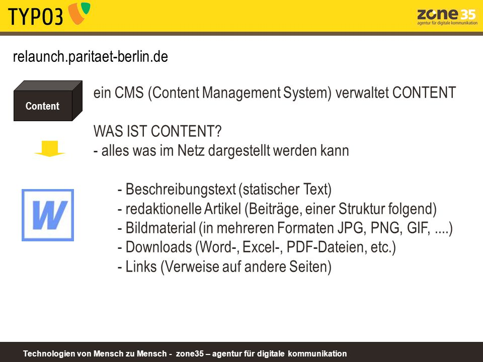 ein CMS (Content Management System) verwaltet CONTENT WAS IST CONTENT