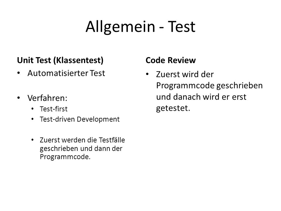 Allgemein - Test Unit Test (Klassentest) Code Review