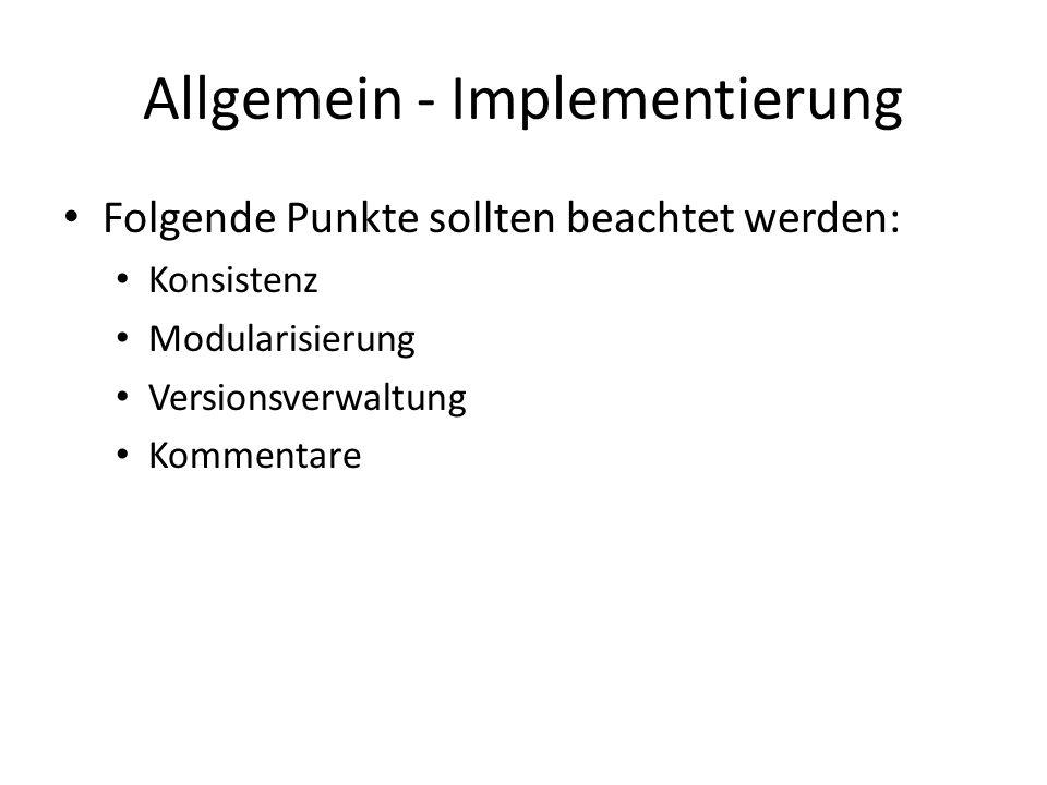 Allgemein - Implementierung