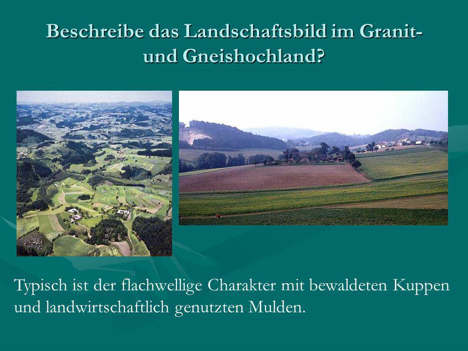 Beschreibe das Landschaftsbild im Granit- und Gneishochland