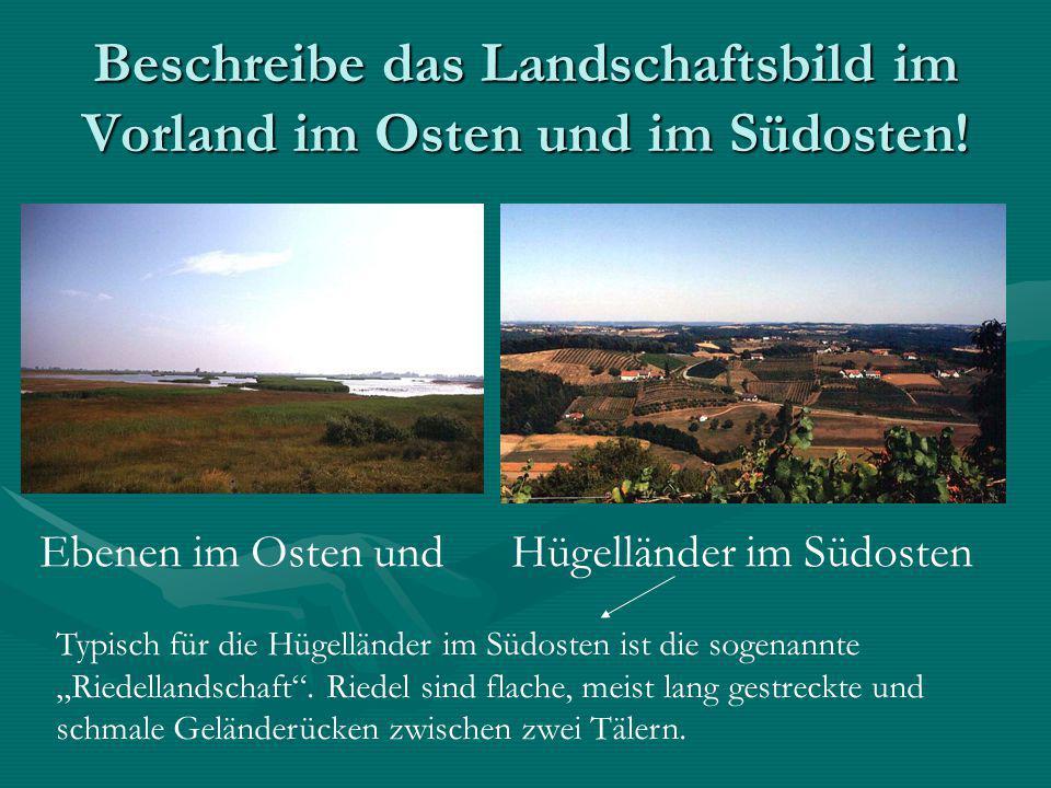 Beschreibe das Landschaftsbild im Vorland im Osten und im Südosten!
