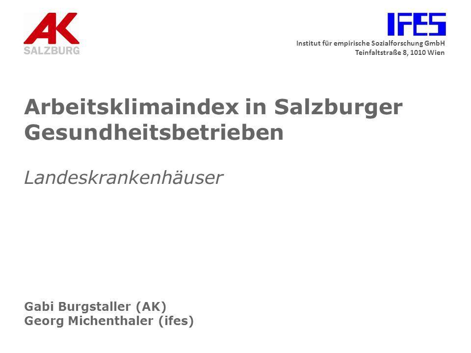 Arbeitsklimaindex in Salzburger Gesundheitsbetrieben Landeskrankenhäuser Gabi Burgstaller (AK) Georg Michenthaler (ifes)