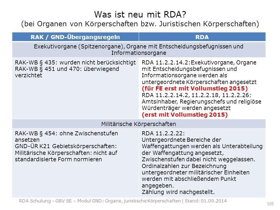 RAK / GND-Übergangsregeln