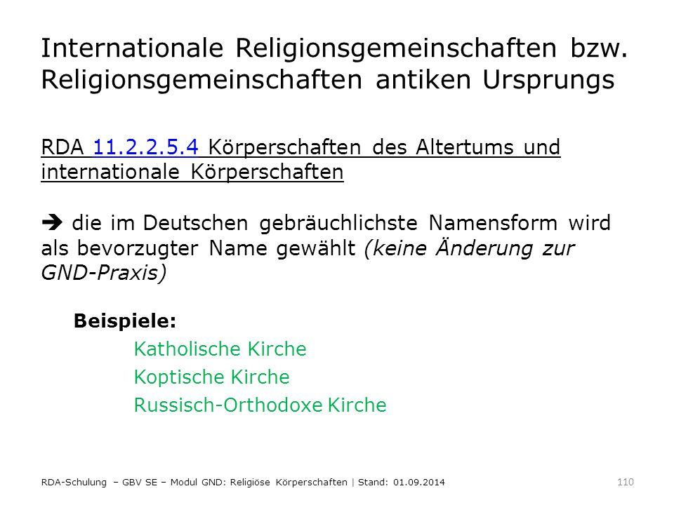 Internationale Religionsgemeinschaften bzw