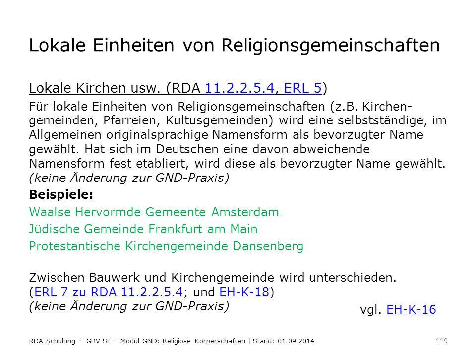 Lokale Einheiten von Religionsgemeinschaften