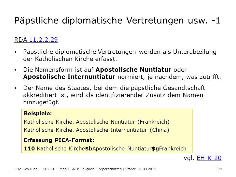 Päpstliche diplomatische Vertretungen usw. -1