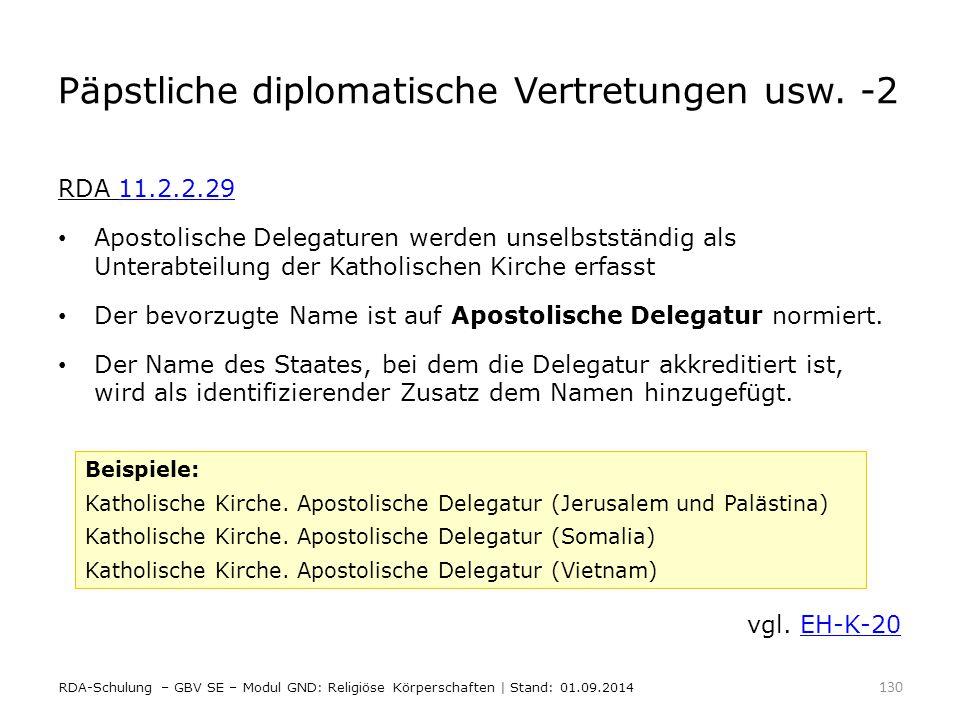 Päpstliche diplomatische Vertretungen usw. -2