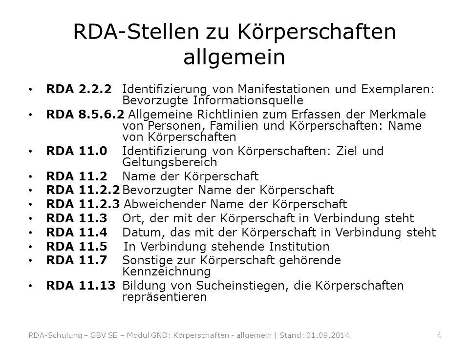 RDA-Stellen zu Körperschaften allgemein