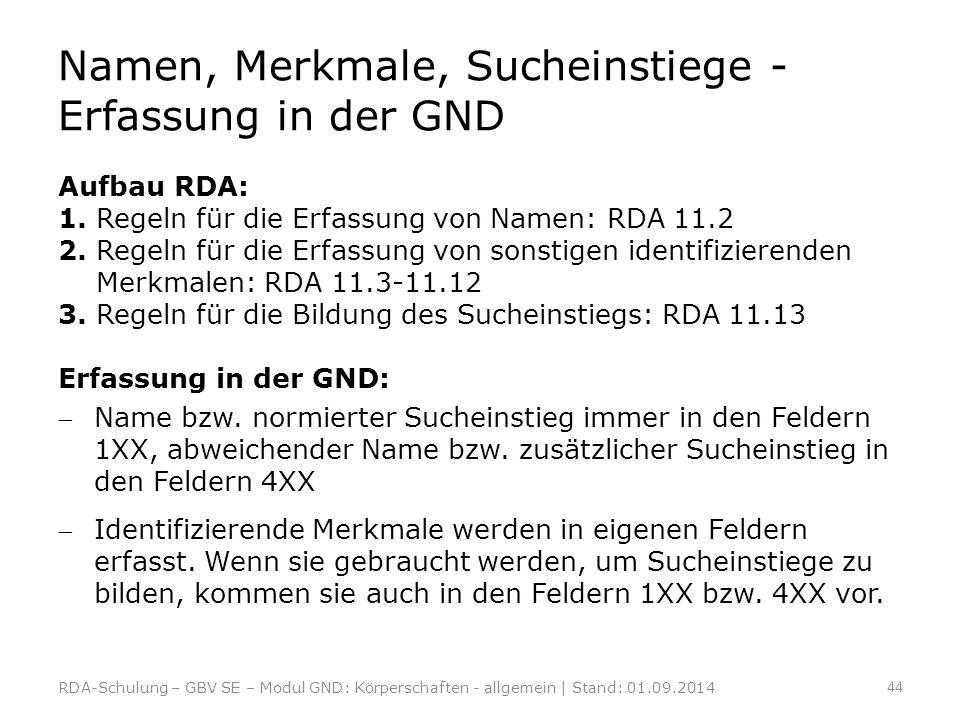 Namen, Merkmale, Sucheinstiege - Erfassung in der GND