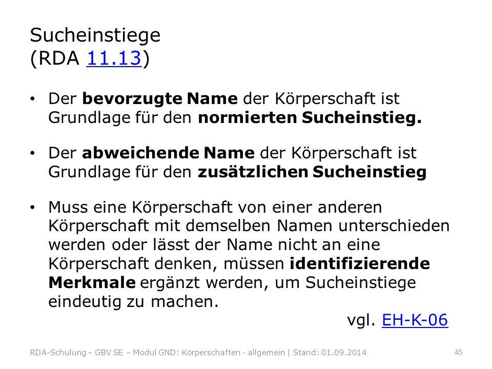 Sucheinstiege (RDA 11.13) Der bevorzugte Name der Körperschaft ist Grundlage für den normierten Sucheinstieg.