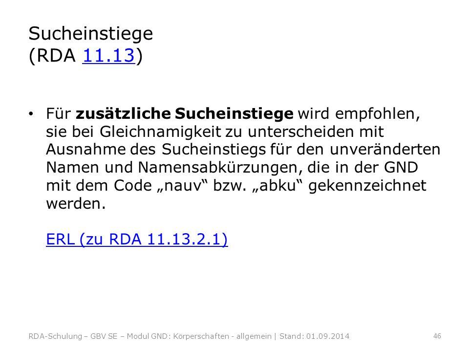 Sucheinstiege (RDA 11.13)