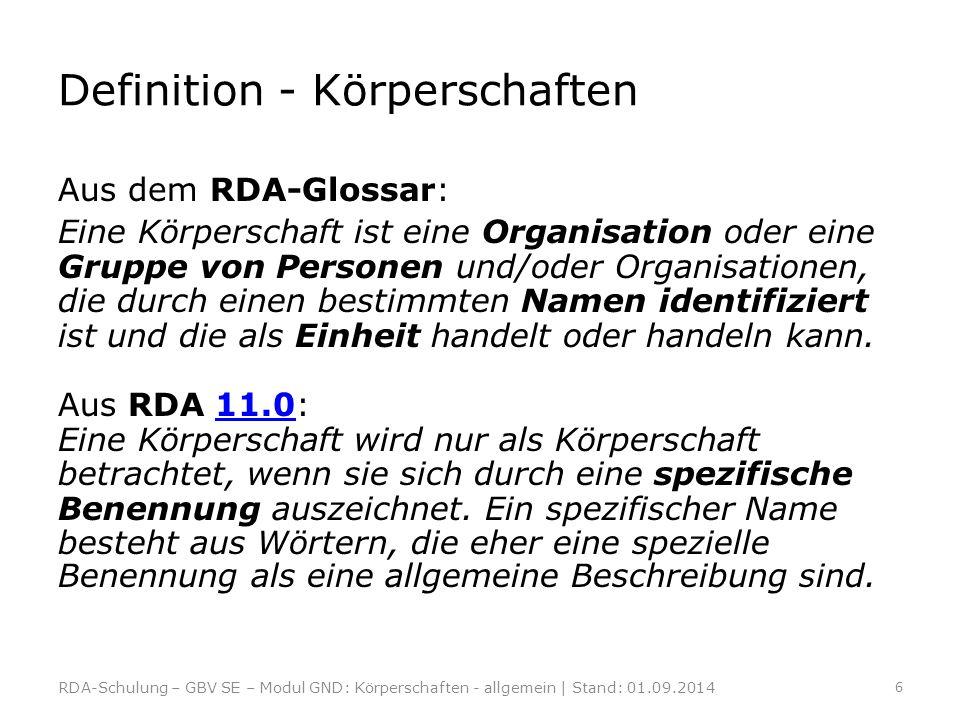 Definition - Körperschaften