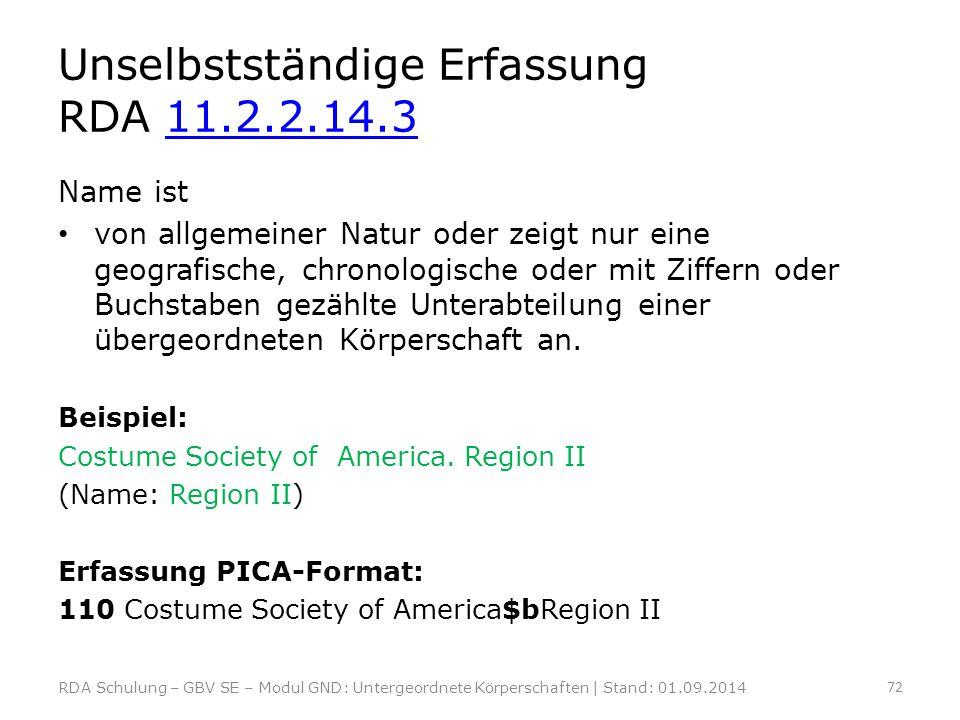 Unselbstständige Erfassung RDA 11.2.2.14.3