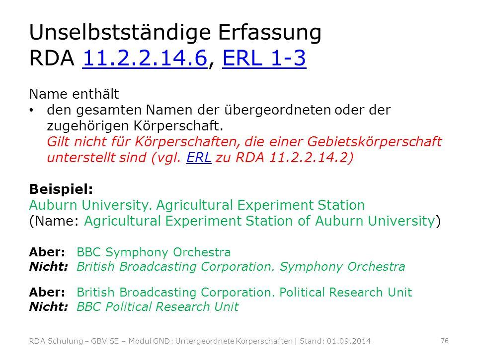 Unselbstständige Erfassung RDA 11.2.2.14.6, ERL 1-3