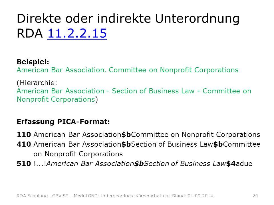 Direkte oder indirekte Unterordnung RDA 11.2.2.15