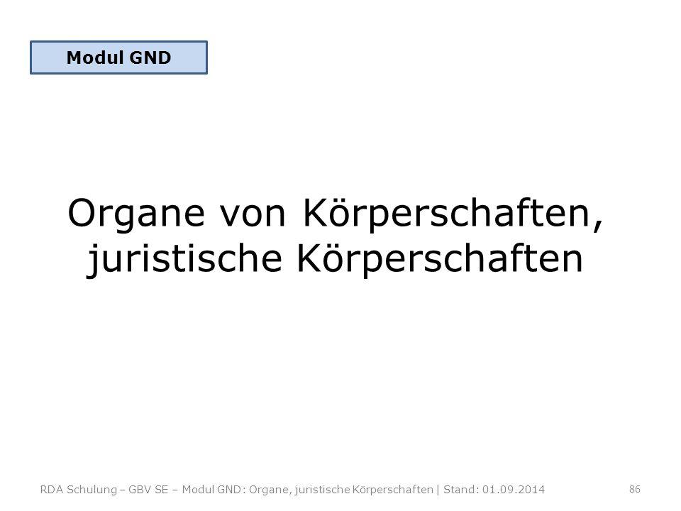 Organe von Körperschaften, juristische Körperschaften