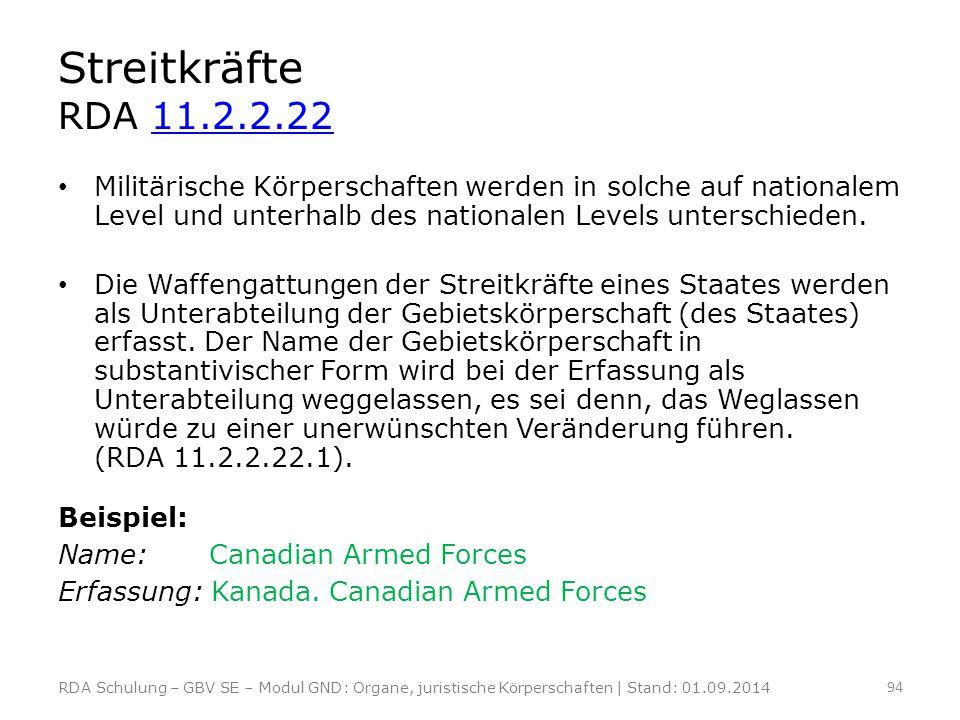 Streitkräfte RDA 11.2.2.22 Militärische Körperschaften werden in solche auf nationalem Level und unterhalb des nationalen Levels unterschieden.