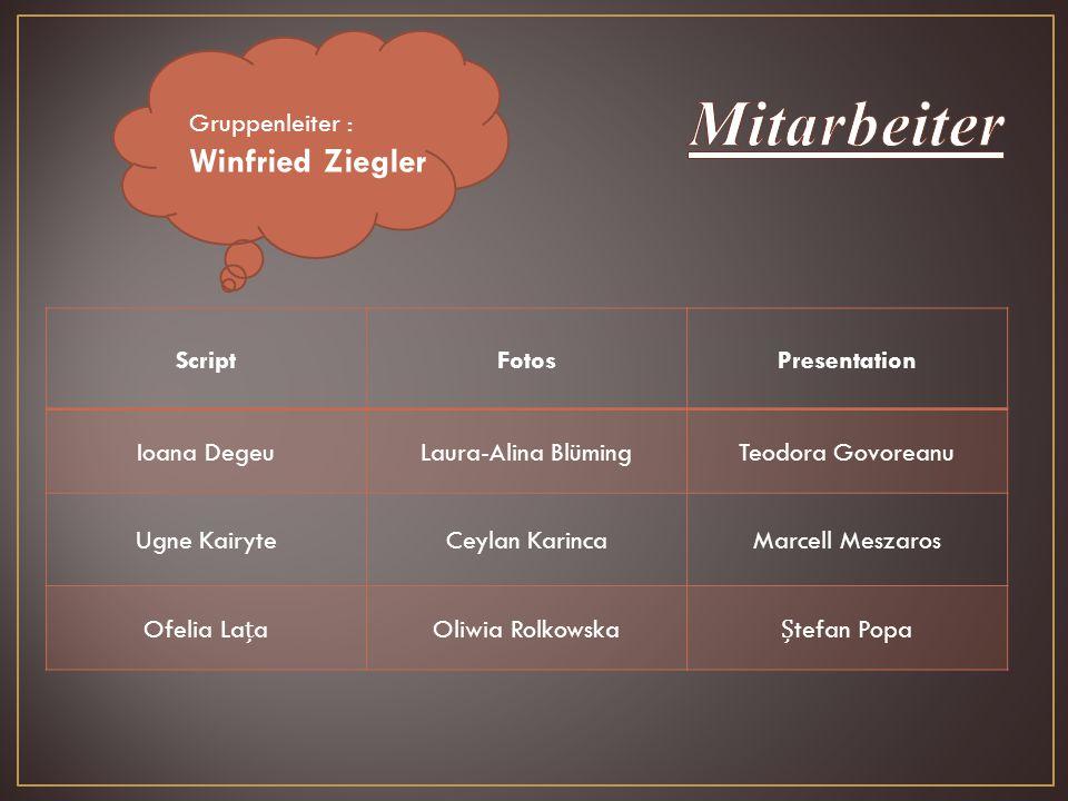 Mitarbeiter Winfried Ziegler Gruppenleiter : Script Fotos Presentation