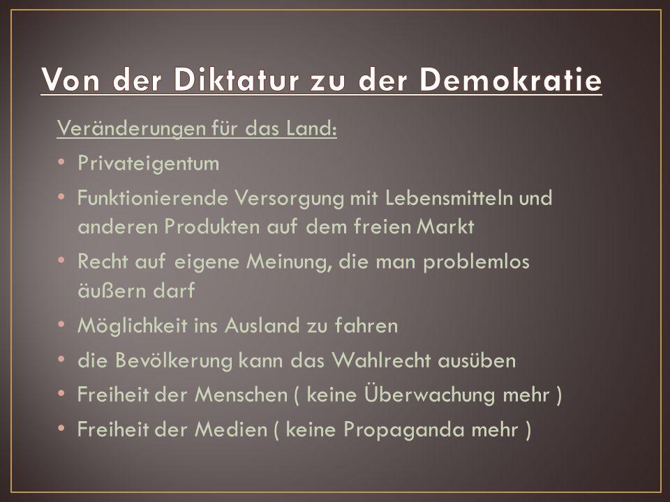 Von der Diktatur zu der Demokratie