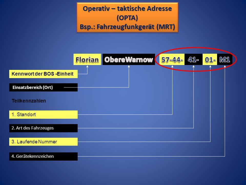 Operativ – taktische Adresse Bsp.: Fahrzeugfunkgerät (MRT)