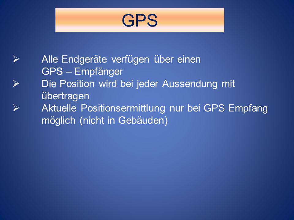 GPS Alle Endgeräte verfügen über einen GPS – Empfänger