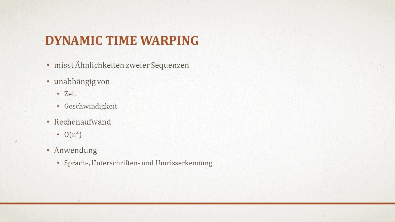 Dynamic time warping misst Ähnlichkeiten zweier Sequenzen
