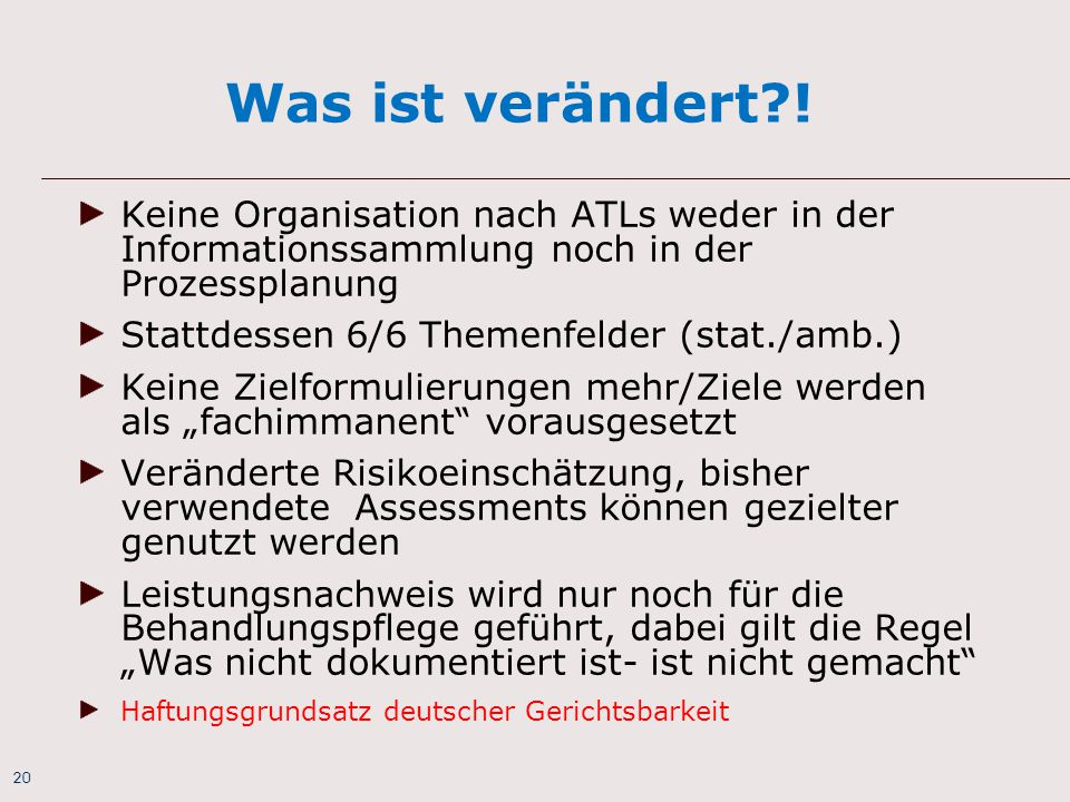 Was ist verändert ! Keine Organisation nach ATLs weder in der Informationssammlung noch in der Prozessplanung.