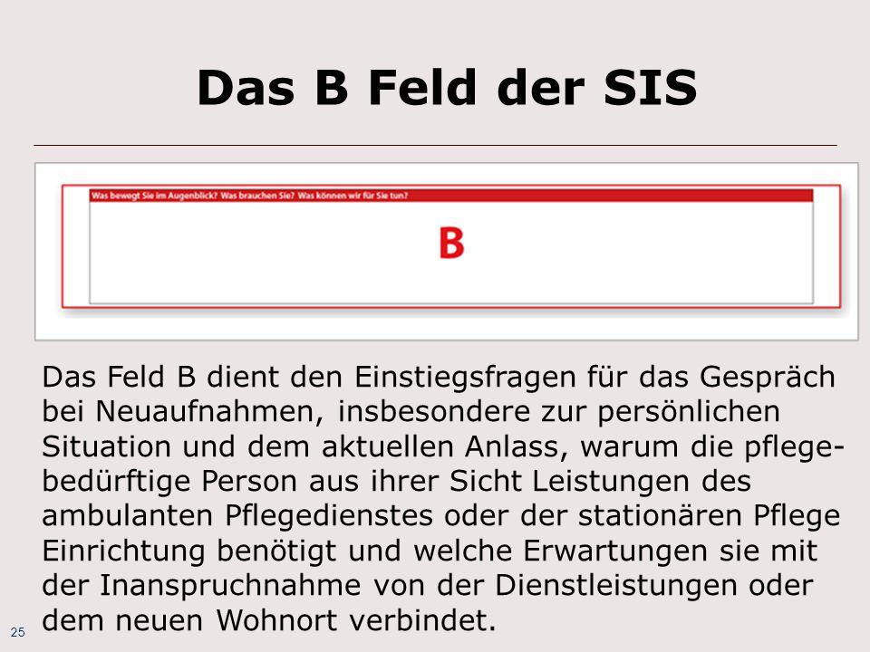 Das B Feld der SIS