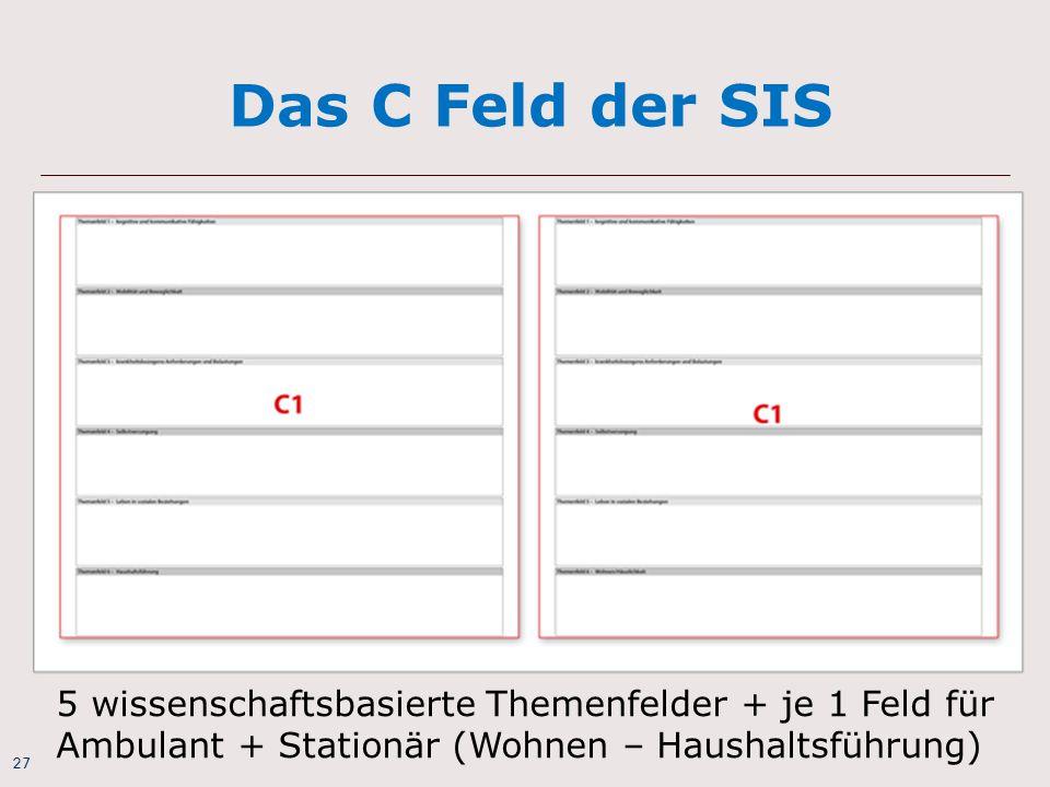 Das C Feld der SIS 5 wissenschaftsbasierte Themenfelder + je 1 Feld für Ambulant + Stationär (Wohnen – Haushaltsführung)