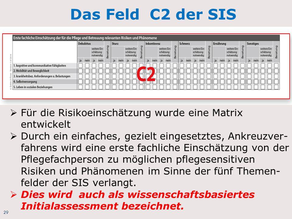 Das Feld C2 der SIS Für die Risikoeinschätzung wurde eine Matrix entwickelt.