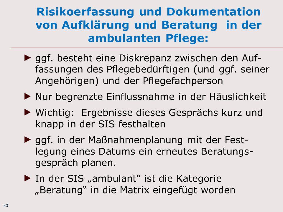 Risikoerfassung und Dokumentation von Aufklärung und Beratung in der ambulanten Pflege:
