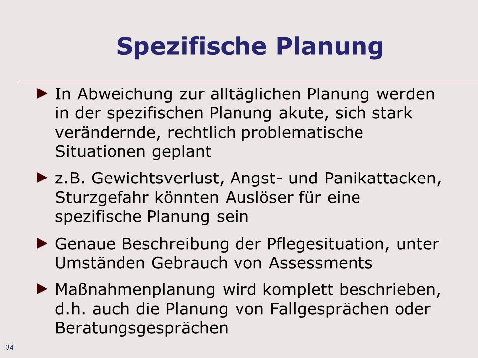 Spezifische Planung