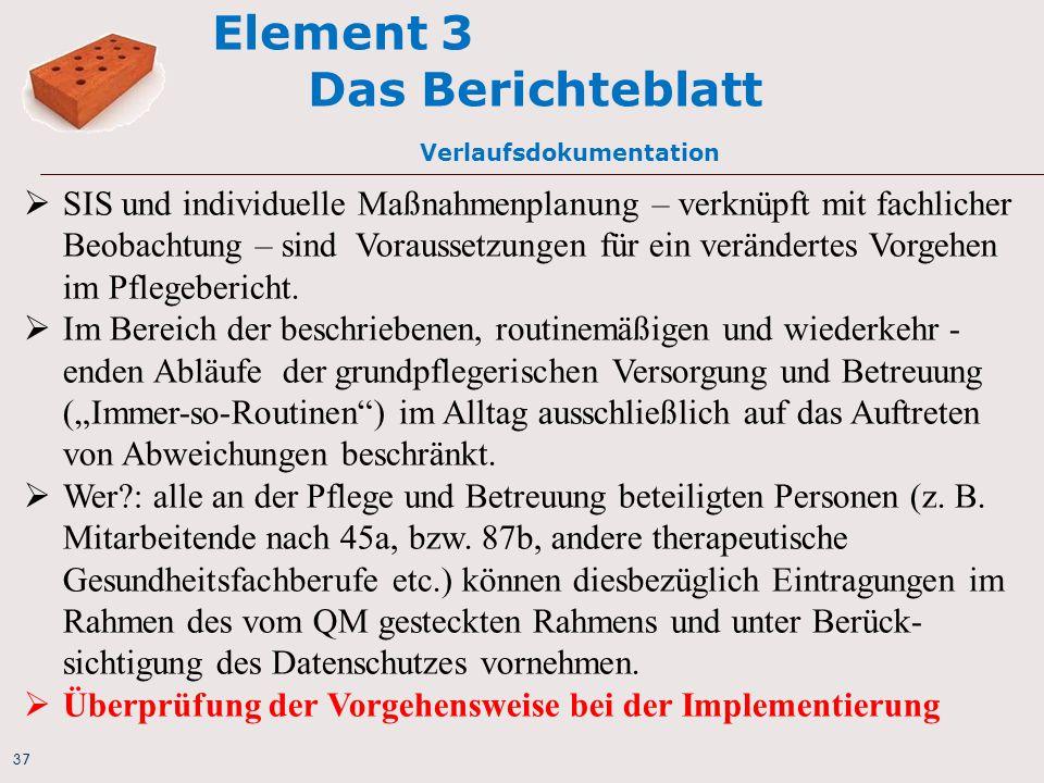 Element 3 Das Berichteblatt Verlaufsdokumentation