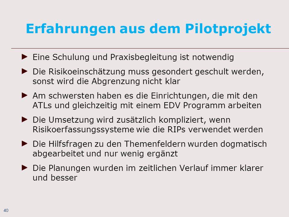 Erfahrungen aus dem Pilotprojekt