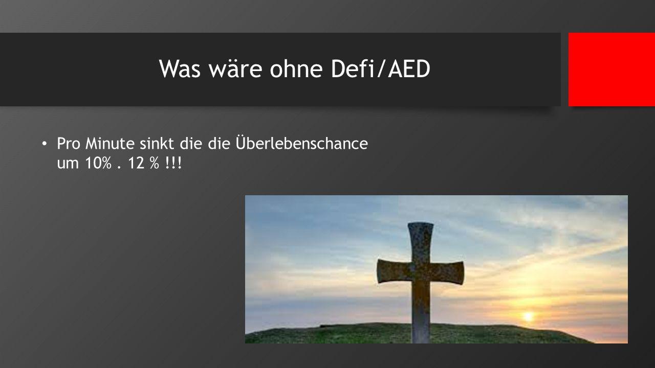 Was wäre ohne Defi/AED Pro Minute sinkt die die Überlebenschance um 10% . 12 % !!!