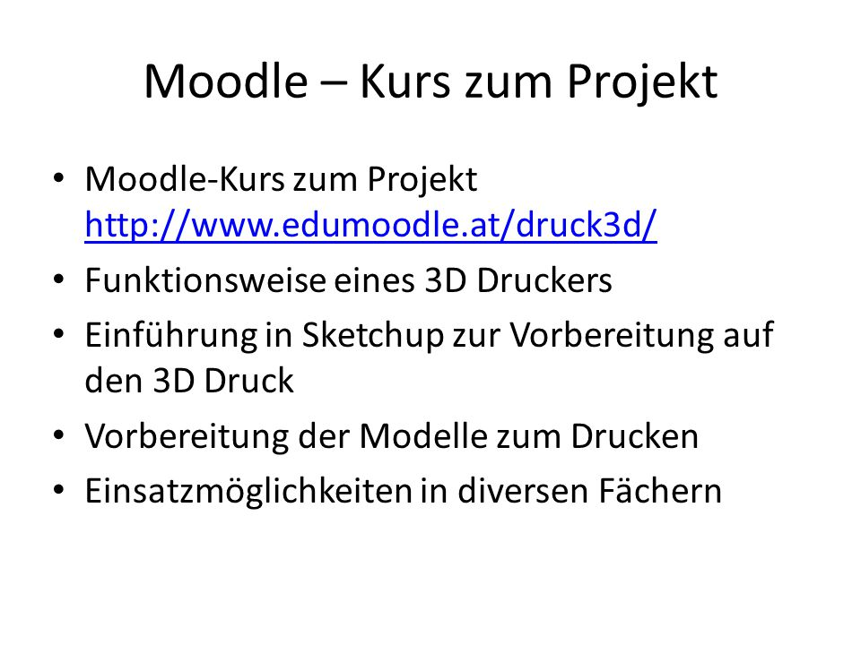 Moodle – Kurs zum Projekt