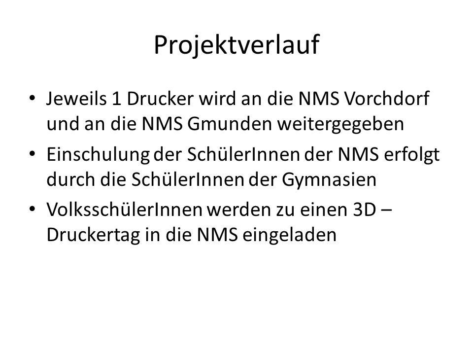 Projektverlauf Jeweils 1 Drucker wird an die NMS Vorchdorf und an die NMS Gmunden weitergegeben.