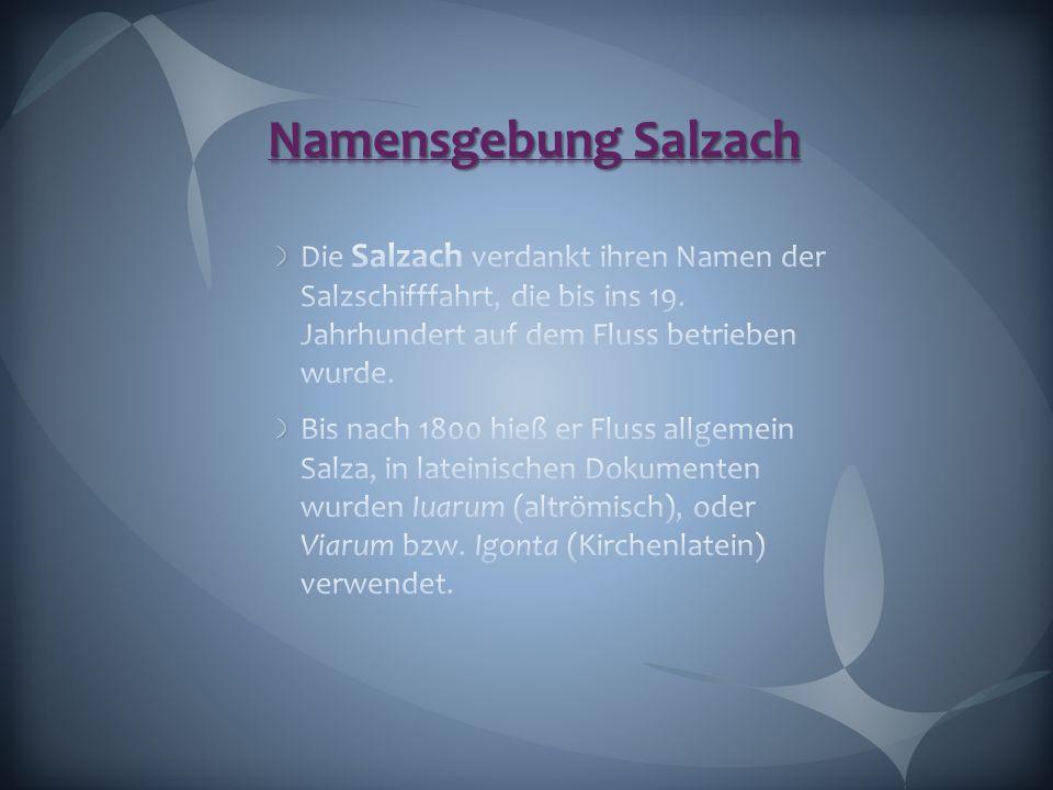 Namensgebung Salzach Die Salzach verdankt ihren Namen der Salzschifffahrt, die bis ins 19. Jahrhundert auf dem Fluss betrieben wurde.