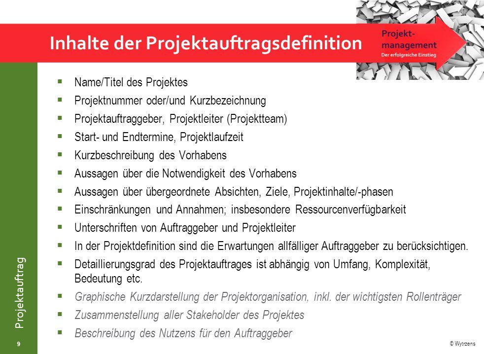 Inhalte der Projektauftragsdefinition
