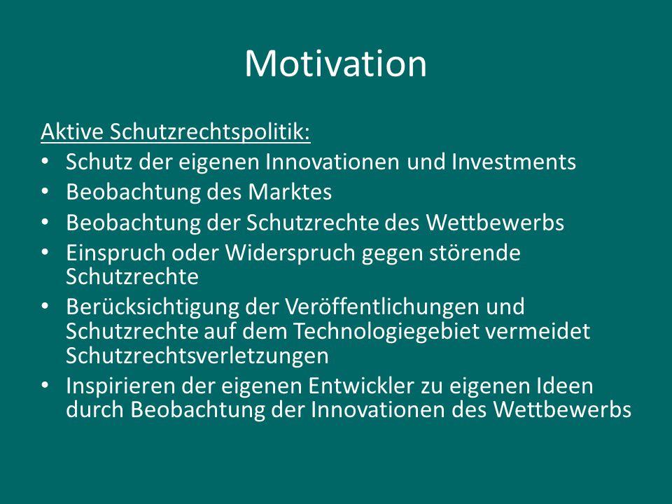 Motivation Aktive Schutzrechtspolitik: