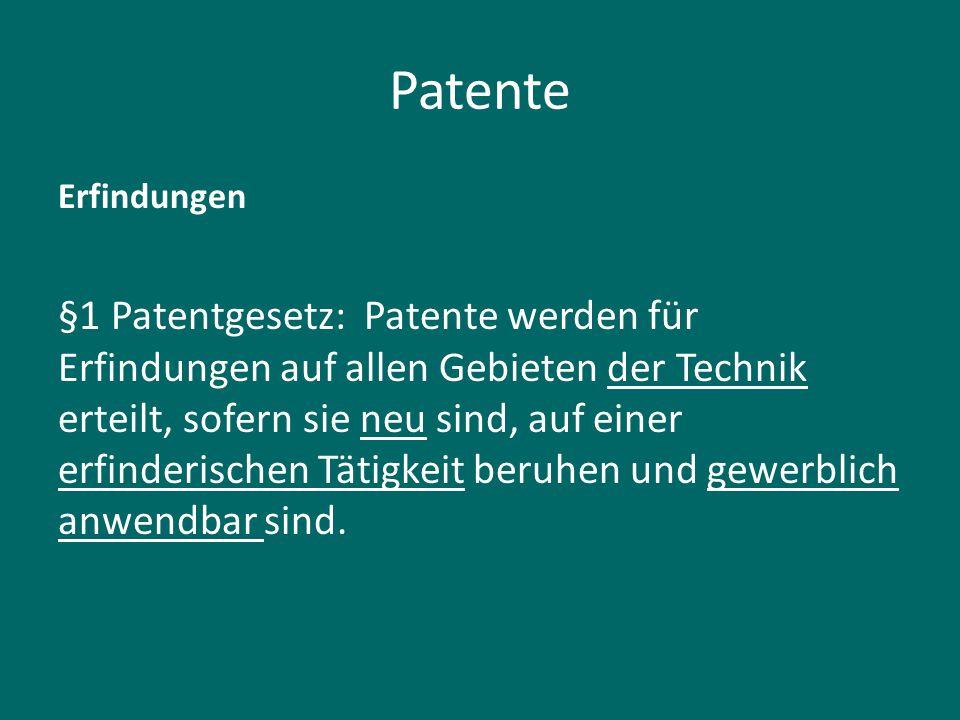 Patente Erfindungen.