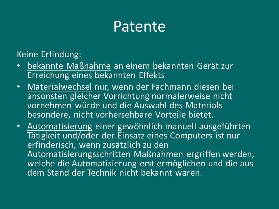 Patente Keine Erfindung: