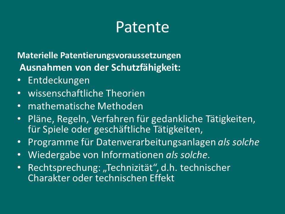 Patente Ausnahmen von der Schutzfähigkeit: Entdeckungen