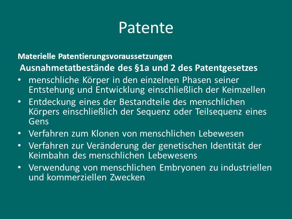 Patente Ausnahmetatbestände des §1a und 2 des Patentgesetzes