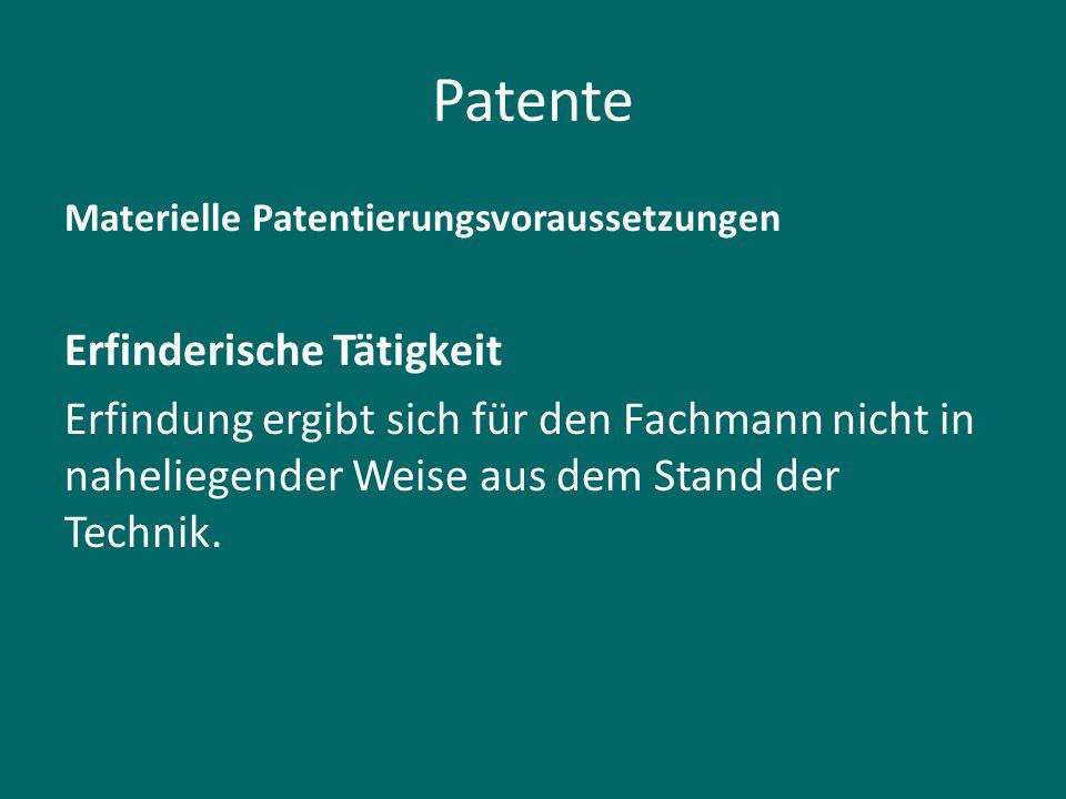 Patente Erfinderische Tätigkeit