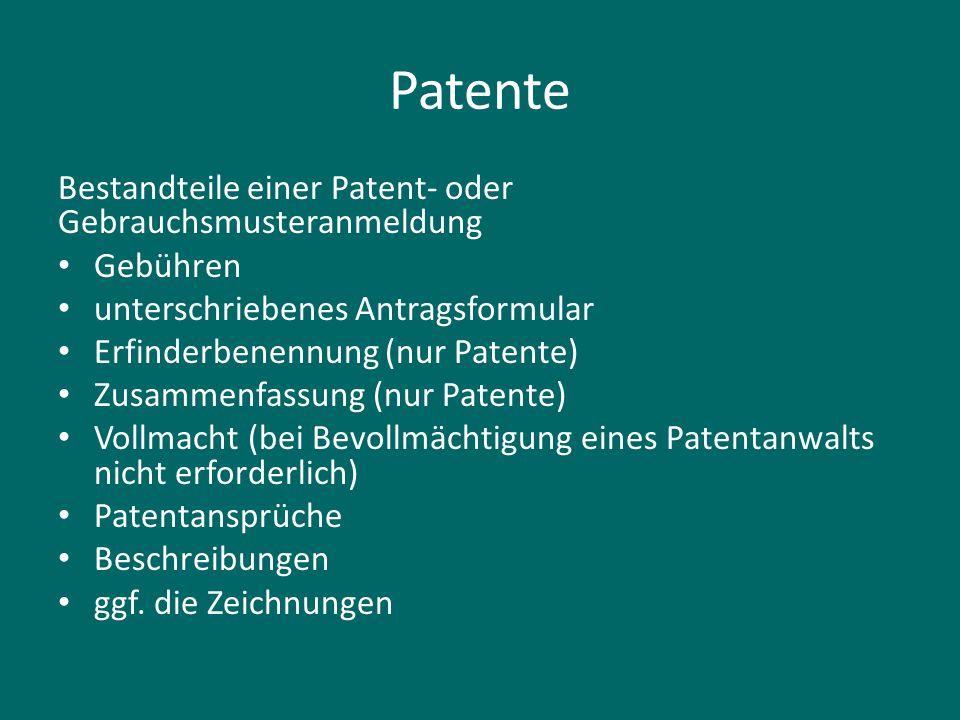 Patente Bestandteile einer Patent- oder Gebrauchsmusteranmeldung