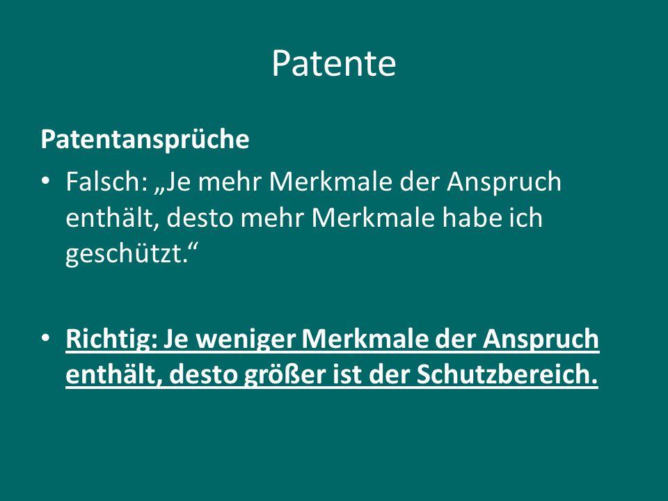 Patente Patentansprüche