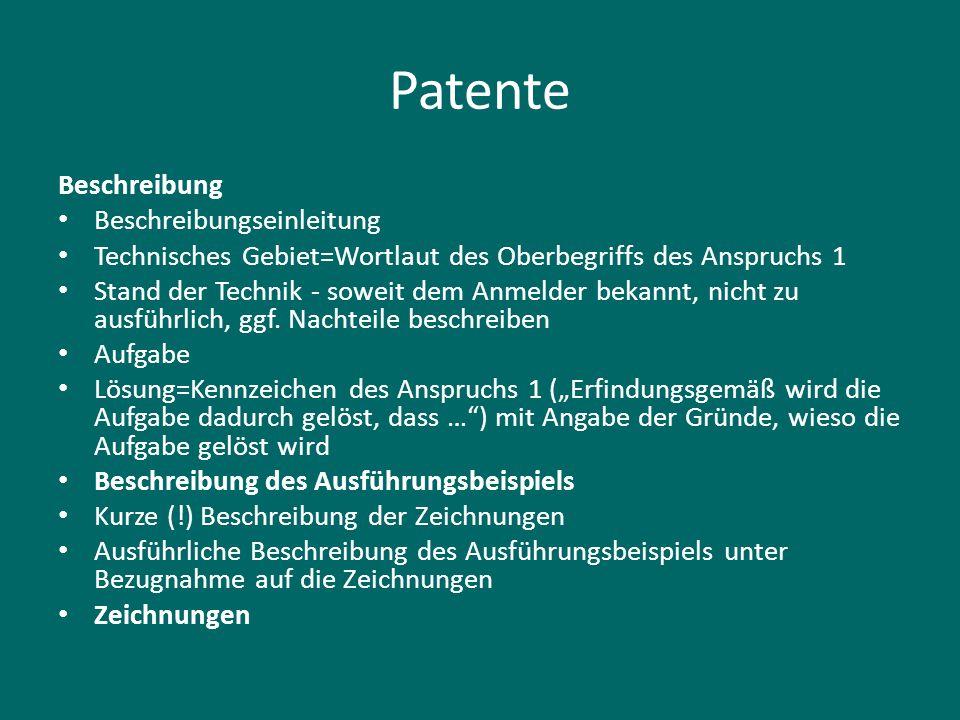Patente Beschreibung Beschreibungseinleitung